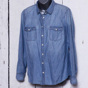 J Crew Medium Denim Chambray Blouse
